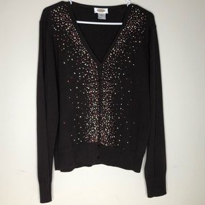 Talbots Long Sleeve V Neck Embroidered sweater